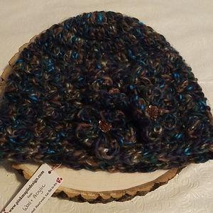 Hand-crocheted Blue Flower Design Wool Winter Hat